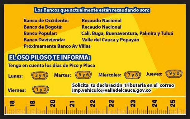 bancos para el pago de impuestos de vehiculos en Cali Valle