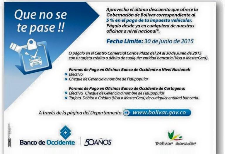 Puntos de pago impuesto vehicular Cartagena Bolivar