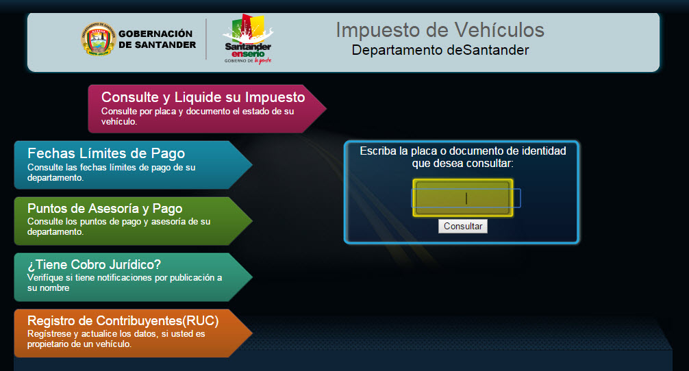 Liquidar y pagar impuesto vehicular Bucaramanga y santander