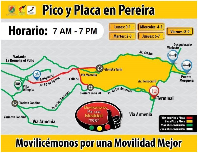 Ver el Pico y placa de motos, carros y taxis en Pereira 2015