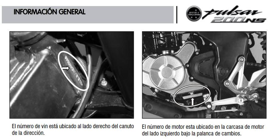 Dónde se ubica el número del motor y chasis de la moto Bajaj Pulsarmania 200 NS?