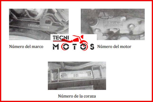 Improntas motor y chasis de la moto JIALING 125 8 SKYWING
