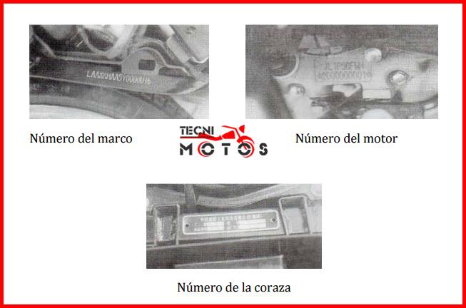 Ver improntas motor y chasis de la moto JIALING SKY WING 125
