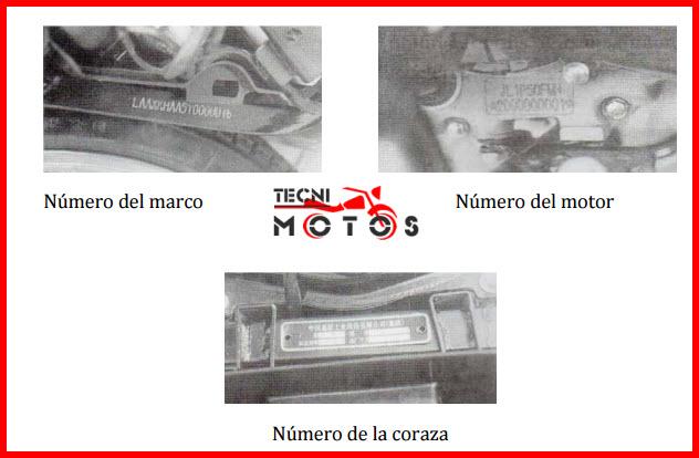 Improntas motor y chasis de la moto JIALING TARGET JL-100