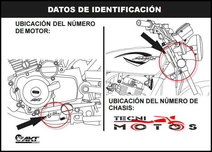 Donde ubico las improntas motor y chasis de la moto akt nkd 125