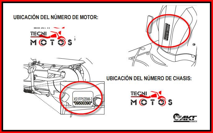 Donde ubico las improntas motor y chasis de la moto AKT Carguero