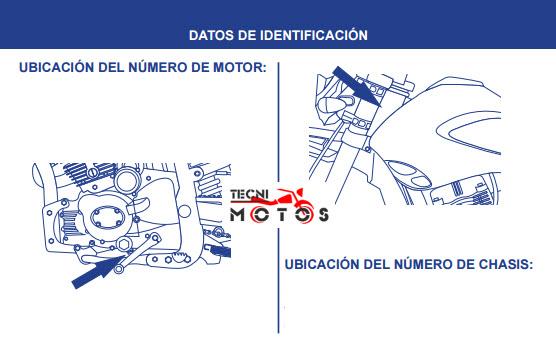 Donde ubico las improntas motor y chasis de la moto akt XM 180