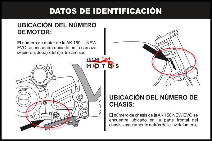 Donde ubico las improntas motor y chasis de la moto akt evo 150 ne