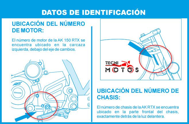Donde ubico las improntas motor y chasis de la moto akt rtx