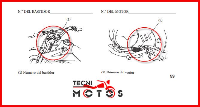 Improntas del motor y chasis de la moto honda- CRF 100 F modelo 2012