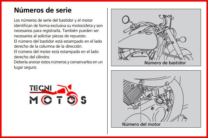 Improntas del motor y chasis de la moto honda VT 750 C