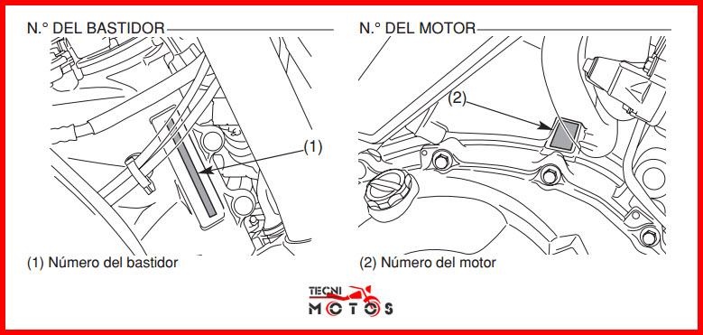 Número de motor y chasis de la moto honda CB 1000 R modelo 2009 a 2010
