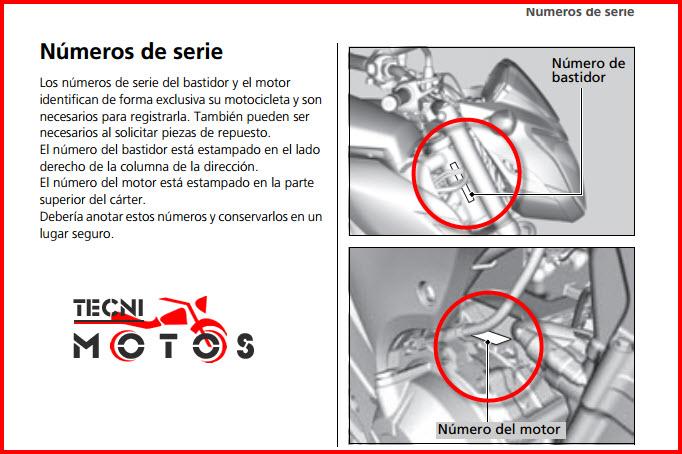 Número de motor y chasis-de-la-moto honda CB500F modelo 2013