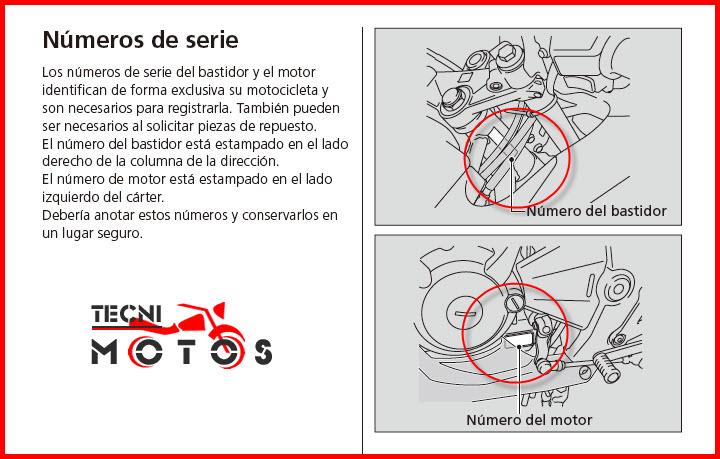 Número de motor y chasis de la moto honda CBR 250R Modelo 2011