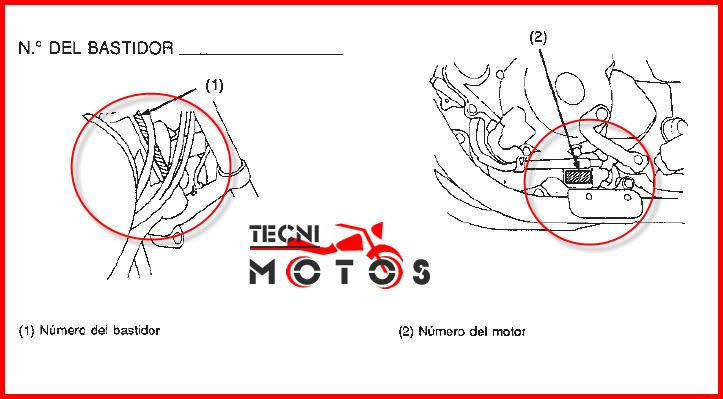 Número de motor y chasis de la moto honda CB 250 Two Tifty