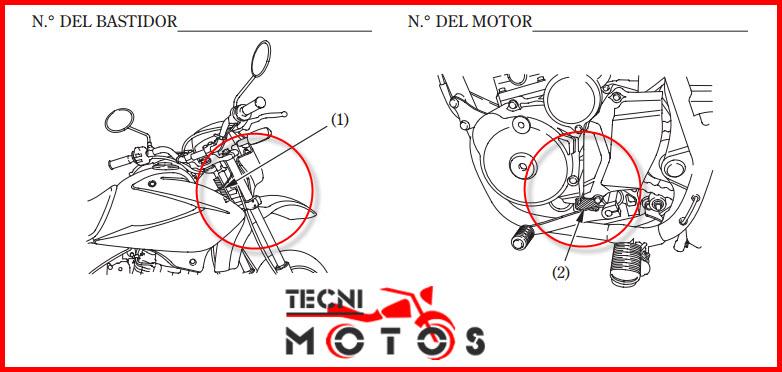 Número de motor y chasis para improntas de la moto honda XR 125L