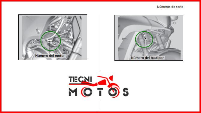 Número de motor y chasis de la moto honda CB 500X modelo 2013