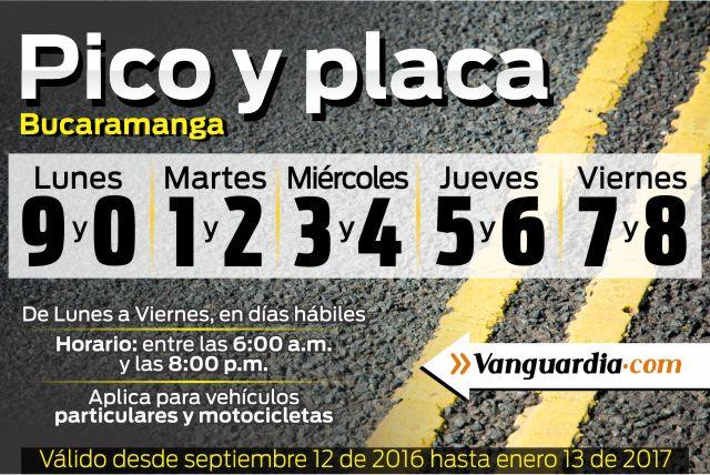 Pico y placa Bucaramanga mes de Septiembre 2016