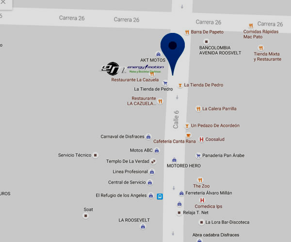 Mapa concesionarios de motos electricas en Cali