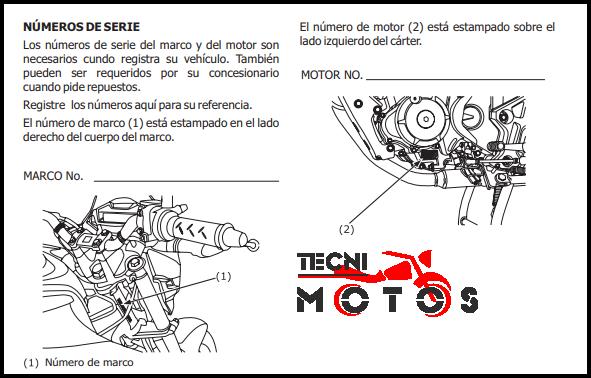Moto Honda Unicorn 160 - Improntas motor y chasis - VIN