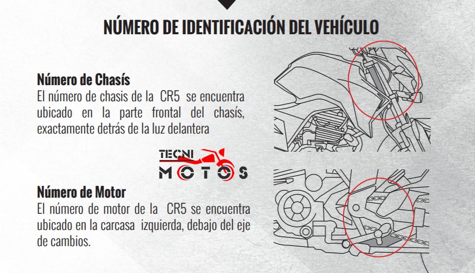 improntas de motor y chasis de la moto AKT CR 5 200