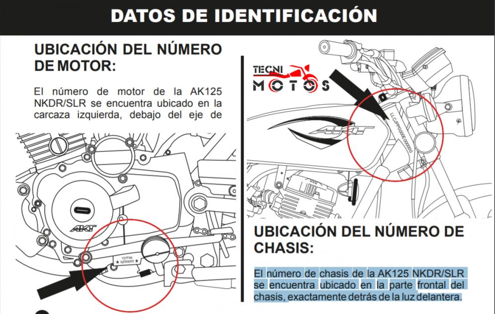 Identificación del motor y el chasis de la Moto AKT CR5 200.