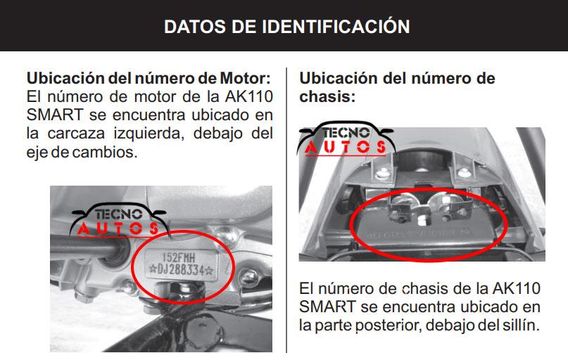 Numero motor y chasis moto akt smart 110