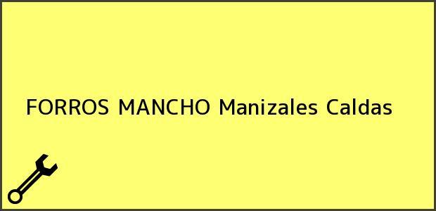 Teléfono, Dirección y otros datos de contacto para FORROS MANCHO, Manizales, Caldas, Colombia