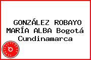 GONZÁLEZ ROBAYO MARÍA ALBA Bogotá Cundinamarca